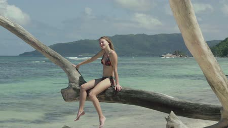 praslin : Seychelles. Praslin Island. Cute slim attractive young woman sitting on the tree trunk at the water on the beach. Tourism, vacation, traveling concept. Tropical island luxury vacation. Stock Footage