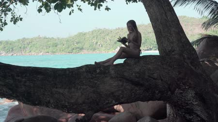 praslin : Seychelles. Praslin Island. The attractive young woman reading the book sitting in the shadow on the tree trunk at the water on the beach. Tourism, vacation, traveling concept. Beautiful sunny seascape on the background Stock Footage