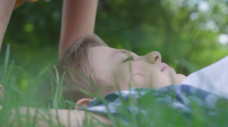 čelo : Close-up portrait of cute little girl kissing forehead and nose of the boy lying in the grass. A couple of happy children. Funny carefree kids in love Dostupné videozáznamy