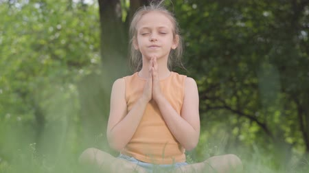 inner : Cute little ute girl sitting on the grass meditating. Child practices yoga. Summertime leisure. Stock Footage