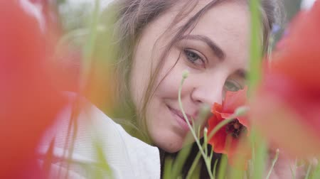 vlčí máky : Portrait of cute young woman sitting in poppy field looking at camera. Connection with nature. Green and red harmony. Contrast colors in poppy. Blossoming poppies. Red poppy in the hands of the girl.