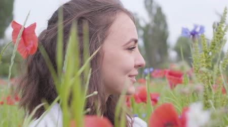klaprozen : Close-up portrait cute girl sitting in poppy field. Cute happy smiling girl resting outdoors. Contrast colors in poppy. Blossoming poppies. Love nature concept. Leisure in nature.
