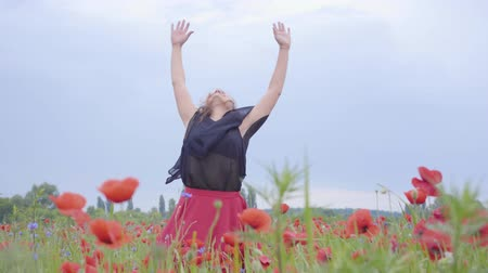 vlčí máky : Cute young woman running and dancing in a poppy field smiling happily. Connection with nature. Leisure in nature. Blossoming poppies. Freedom. Dostupné videozáznamy