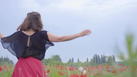 florescente : Pretty young woman running and dancing in a poppy field smiling happily. Connection with nature. Leisure in nature. Blossoming poppies. Freedom. Stock Footage