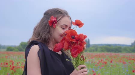 vlčí máky : Portrait of pretty young woman holding and sniffing bouquet of flowers in hands looking in the camera standing in a poppy field. Connection with nature. Green and red harmony. Leisure in nature.