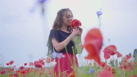 vlčí máky : Portrait cute young girl in a poppy field holding bouquet of flowers in hands, admiring beautiful flowers. Connection with nature. Green and red harmony. Leisure outdoors, summertime fun