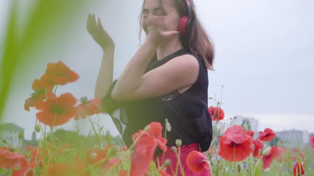 tutku : Pretty young woman wearing headphones listening to music and dancing in a poppy field smiling happily. Connection with nature. Leisure in nature. Blossoming poppies. Freedom. Stok Video