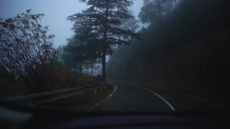 tükör : View of rainy foggy road with picturesque nature from driving car along roadside during journey. Cyprus. Slow motion. Stock mozgókép