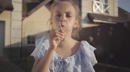 chmýří : Portrait of a pretty cute little girl blowing a dandelion and looking at the camera smiling. The child spending time outdoors in the backyard. Carefree childhood. Slow motion.