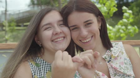 conserva : Portrait two cute girls taking each others little fingers and smiling, looking in the camera. Conciliatory gesture, friendship concept. Summertime leisure. Stock Footage