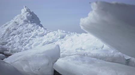 cooling : Amazing view of a snowy North or South Pole. The ice blocks close up, camera moving left. Cold beauty