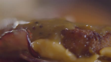 mouth watering : Close-up hands of the chef making burger. Tasty food preparation. Stock Footage
