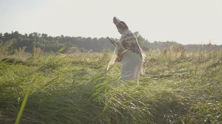 mow : Beautiful overweight woman with a wreath on her head mowing the grass with the scythe on the summer field. Beautiful landscape. Folklore, traditions. Work in the field. Real rural woman. Stock Footage