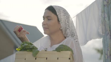 clothesline : Attractive senior woman with a white shawl on her head holding the basket with vegetables sniffing cherry tomato near the clothesline outdoors. Positive housewife doing homework Stock Footage