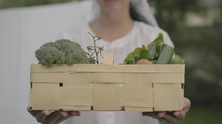 no hands : Unrecognizable woman in white dress with a shawl on her head holding the basket with vegetables outdoors. Positive housewife doing housework. Healthy country lifestyle Stock Footage