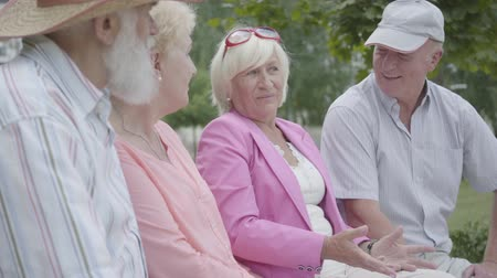 couples : Two cute mature couples talking and smiling sitting on the bench in the summer park. Double date of senior couples. Friendly company resting outdoors. Old men and women met together. Retired people. Stock Footage