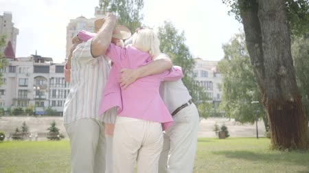 grandad : Two cute mature couples hugging in the park together standing in circle. Double date of senior couples. Friendly company resting outdoors. Old men and women smiling happily. Slow motion. Stock Footage