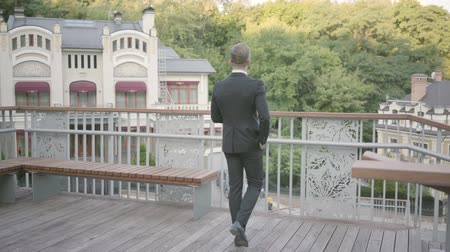 durulması : Back view of young well-dressed businessman walking on the terrace looking away. The office manager relaxing outdoors admiring nature. Break time, comfortable workplace. Stok Video