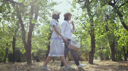時代遅れの : Pretty couple in love walking in the park or garden holding hands, emotionally talking. The man with long hair and pretty woman spending time together outdoors. Retro style. Side view