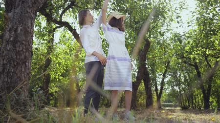 retro girl : Happy young couple hugging and dancing while standing in the park or garden. Leisure outdoors, connecting with nature, enjoying sunny day. Bottom view. Stock Footage