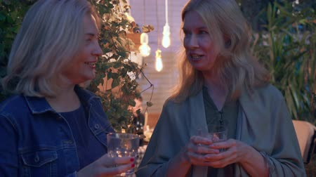 neighbor : Two blond mature women chatting and drinking alcohol. Neighbours gossiping in the summer evening. Concept of friendship, good neighbor relationship. Stock Footage