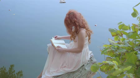 nimf : Side view of a young caucasian woman with long red hair reading the book on the background of blue lake. Charming girl sitting on the log on the riverbank.