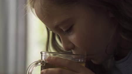 canna fumaria : Close-up face of little girl blowing on the herbal tea before drinking it while sitting at the table at home. The child enjoying tea for colds in the kitchen. Carefree childhood. Concept of healthcare Filmati Stock