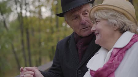 olgun : Close-up of a mature Caucasian couple standing next to the handrails and talking. Senior man and woman dressed in elegant classic clothes spending autumn day in the park. Stok Video