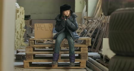 refugee crisis : Little Syrian refugee in dirty warm clothes sitting on pallets at the construction site with Help cardboard. Lonely homeless child waiting for a handout. Stock Footage