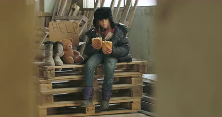 greedily : Portrait of a homeless girl in dirty clothes and hat with earflaps sitting on palettes and eating the loaf of bread greedily. Hungry refugee sitting on the construction site with Help cardboard and teddy bear. Stock Footage