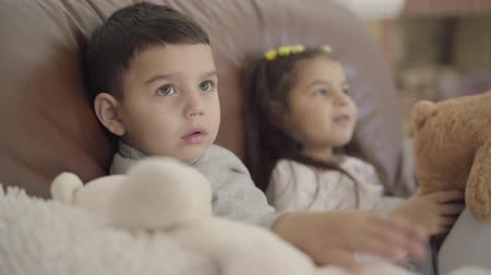 peluş : Close-up face of a cute Middle Eastern boy sitting with his sister at the coach and playing toys. Little child spending evening at cozy home with family. Stok Video