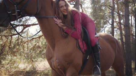 amazzone : Portrait of a young happy Caucasian female equestrian lying on horseback and caressing her pet. Beautiful brown horse standing in the autumn forest with the young rider on his back.