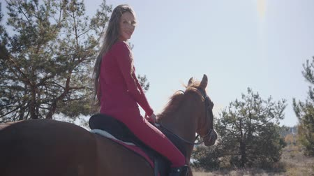 lóháton : Back view of a smiling Caucasian female equestrian sitting in sunlight on the horseback and riding away. Cute brunette girl in pink clothes resting with her pet outdoors.