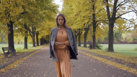 crows feet : Portrait of a confident Caucasian girl in mustard dress and checkered jacket walking along the road. Pretty brunette woman strolling in the autumn park on weekends. Stock Footage