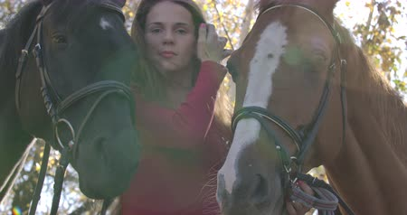 hřebec : Caucasian girl with problem skin and long brown hair standing with two horses outdoors. Sick woman undergoing hippotherapy in sunny autumn forest. Cinema 4k footage ProRes HQ.