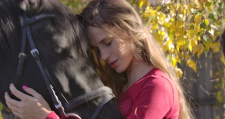 amazzone : Close-up portrait of a young Caucasian girl caressing horse face in the autumn forest and smiling. Beautiful brunette equestrian resting outdoors with her lovely pet. Cinema 4k footage ProRes HQ.