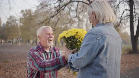 chrysanthemum : Happy Caucasian mature man giving chrysanthemum bouquet to his lovely wife and kneeling down. Positive European mature family spending romantic evening in autumn park. Aging together, eternal love.