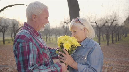 romantyczny : Senior Caucasian man giving chrysanthemum bouquet to his lovely wife and kissing her. Positive European mature family spending romantic evening in autumn park. Aging together, eternal love concept.