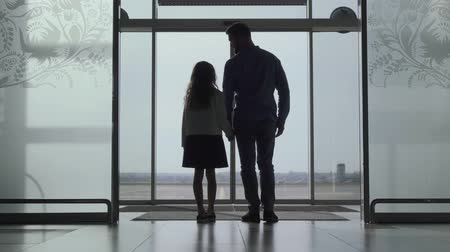 за границей : Back view silhouettes of adult man and little girl standing at the airport door and looking at the runway. Father and daughter waiting for the airplane takeoff. Travelling together, tourism, journey.