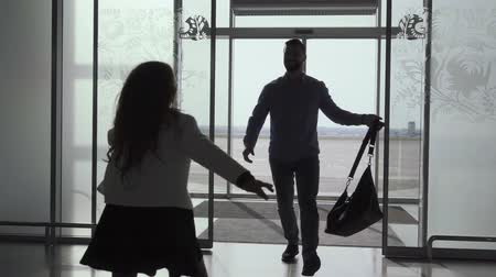 idílio : Young bearded Caucasian man entering the glass airport door with luggage. Little cheerful girl running up to her father. Guy hugging and spinning his daughter Arrival, meeting after journey, tourism. Vídeos