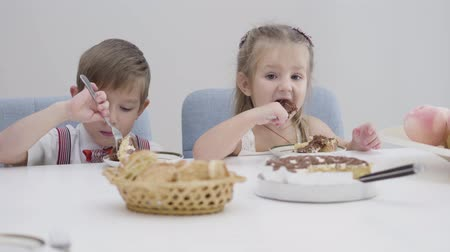 Close-up faces of cute Caucasian boy and girl eating cake. Little brother and sister enjoying sweet food at birthday party. Happiness, leisure.