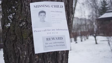 broşür : Missing Caucasian boy ad hanging on the tree in winter. Information about reward for any data about little kidnapped child. Kidnapping, loss, search. Stok Video