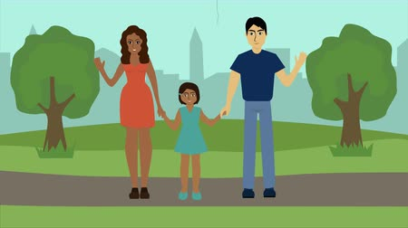 amor : 2D animation, young happy family standing in park, waving at camera and smiling. Caucasian father spending time with African American wife and biracial daughter outdoors. Lifestyle, happiness.