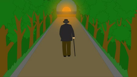 olgun : 2D animation, back view of mature Caucasian man in elegant outfit walking along the park alley to sunset and dissapearing. Concept of aging, life cycle, philosophy.