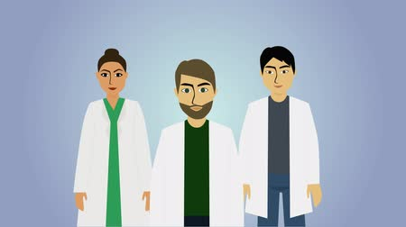 blauwe achtergrond : 2D animation, doctors of different ethnicities appearing. Adult people in white workrobes smiling. Healthcare and medicine, professional occupation. Stockvideo