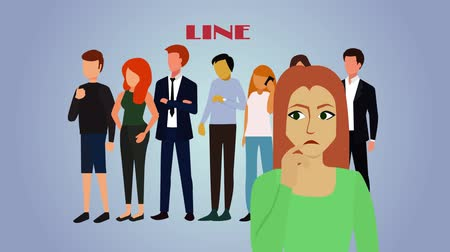 мультфильмы : 2D animation, close-up of adult Caucasian woman standing in front of line and thinking. Line zooming out into circle and crossed out, girl smiling. Online purchasing, distant shopping. Стоковые видеозаписи