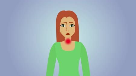 pacjent : 2D animation, sad Caucasian woman at blue grey background. Red circles appearing on human body, pain icons. Headache, pain in throat, heartache, pain in stomach. Healthcare, illness, symptoms.