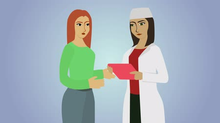 praca : 2D animation, young Caucasian woman talking with female doctor in white workrobe. Two women at blue grey background. Patient and physician discussing case history. Healthcare, help, treatment. Wideo