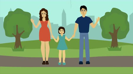 мультфильмы : 2D animation, happy Caucasian family standing in park, waving at camera and smiling. Father spending time with beautiful wife and little daughter outdoors. Lifestyle, happiness. Стоковые видеозаписи