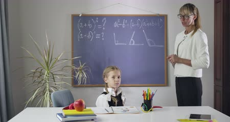 diligence : Tired Caucasian middle aged tutor holding head with hands and yelling as cute schoolgirl sitting at the table. Teacher tired of students misbehavior. Private lesson, education. Cinema 4k ProRes HQ. Stock Footage